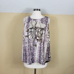 INC Plus Size Flippy-Sequin Snake-Embossed Top